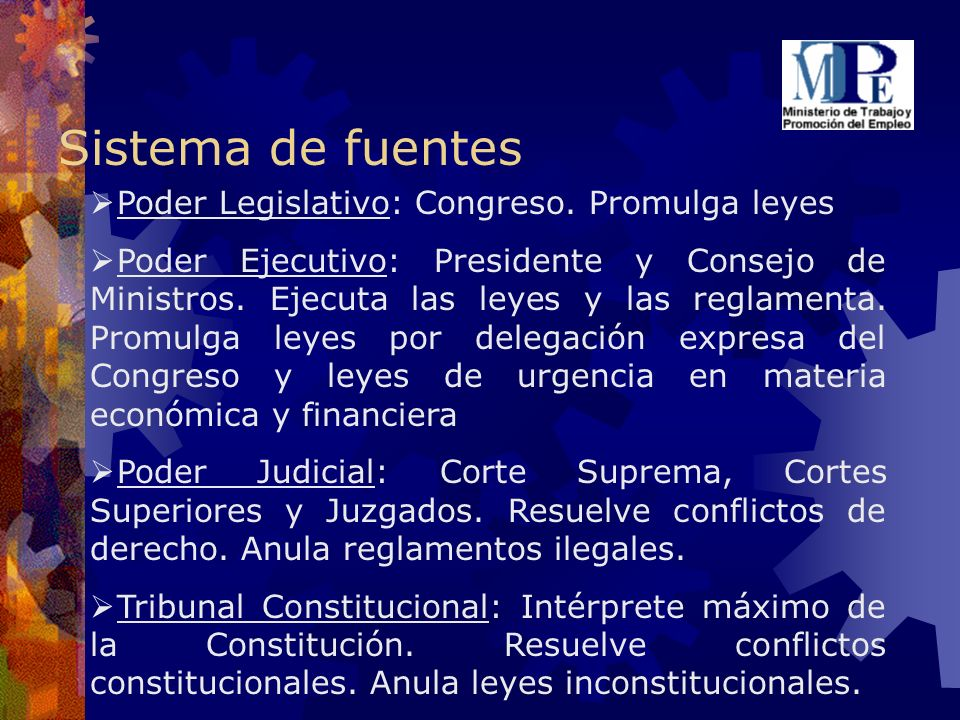 Sistema de fuentes Poder Legislativo: Congreso. Promulga leyes