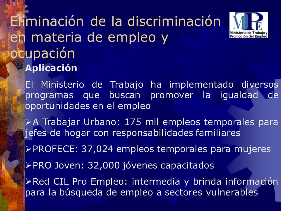 Eliminación de la discriminación en materia de empleo y ocupación