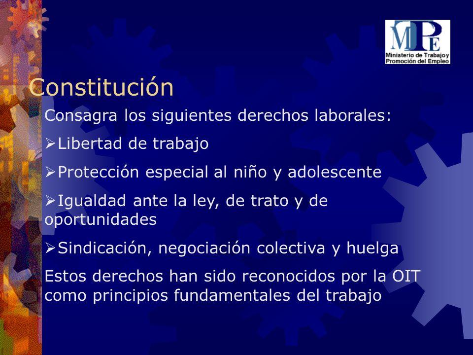 Constitución Consagra los siguientes derechos laborales: