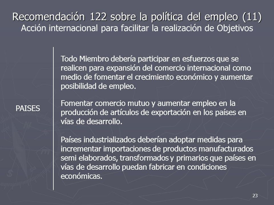Recomendación 122 sobre la política del empleo (11) Acción internacional para facilitar la realización de Objetivos