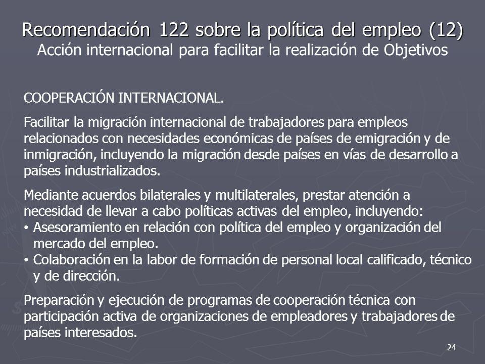 Recomendación 122 sobre la política del empleo (12) Acción internacional para facilitar la realización de Objetivos