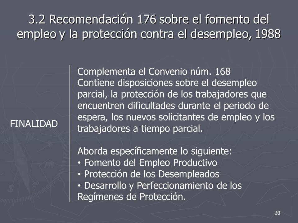 3.2 Recomendación 176 sobre el fomento del empleo y la protección contra el desempleo, 1988