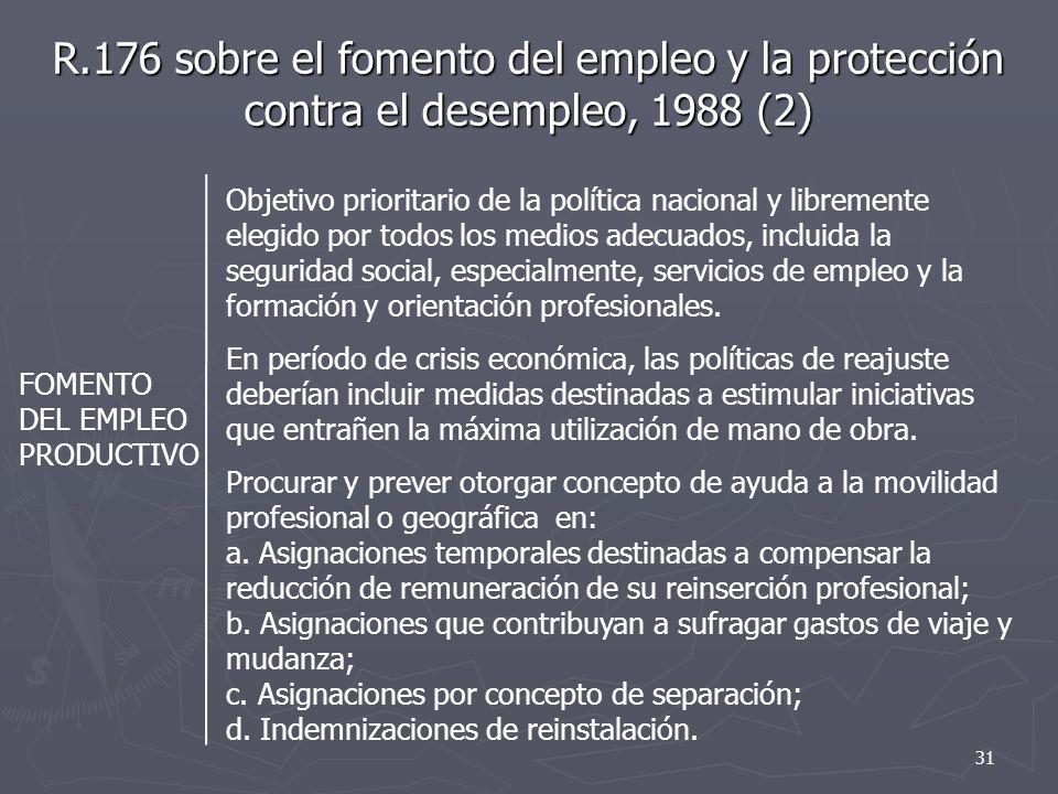 R.176 sobre el fomento del empleo y la protección contra el desempleo, 1988 (2)