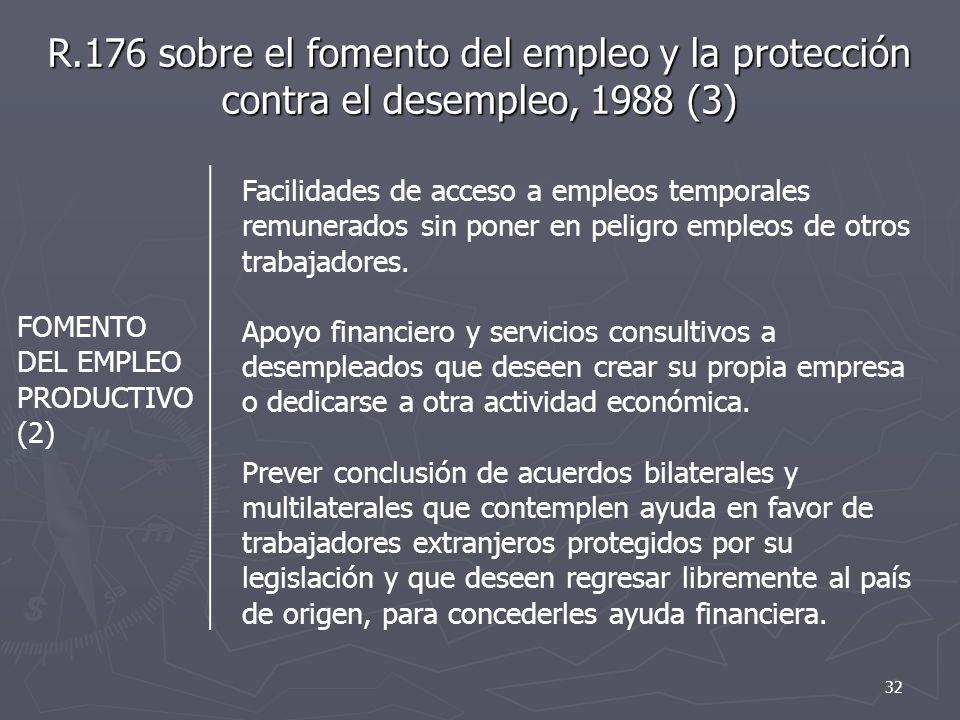 R.176 sobre el fomento del empleo y la protección contra el desempleo, 1988 (3)
