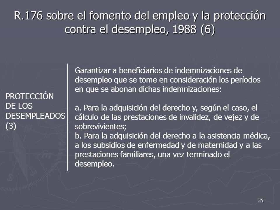 R.176 sobre el fomento del empleo y la protección contra el desempleo, 1988 (6)