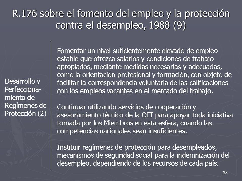 R.176 sobre el fomento del empleo y la protección contra el desempleo, 1988 (9)