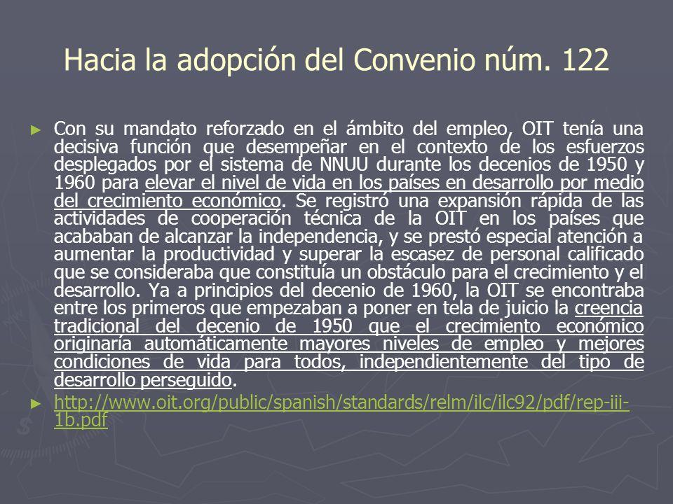 Hacia la adopción del Convenio núm. 122