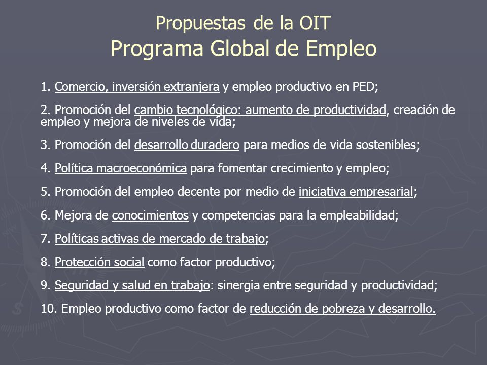 Propuestas de la OIT Programa Global de Empleo