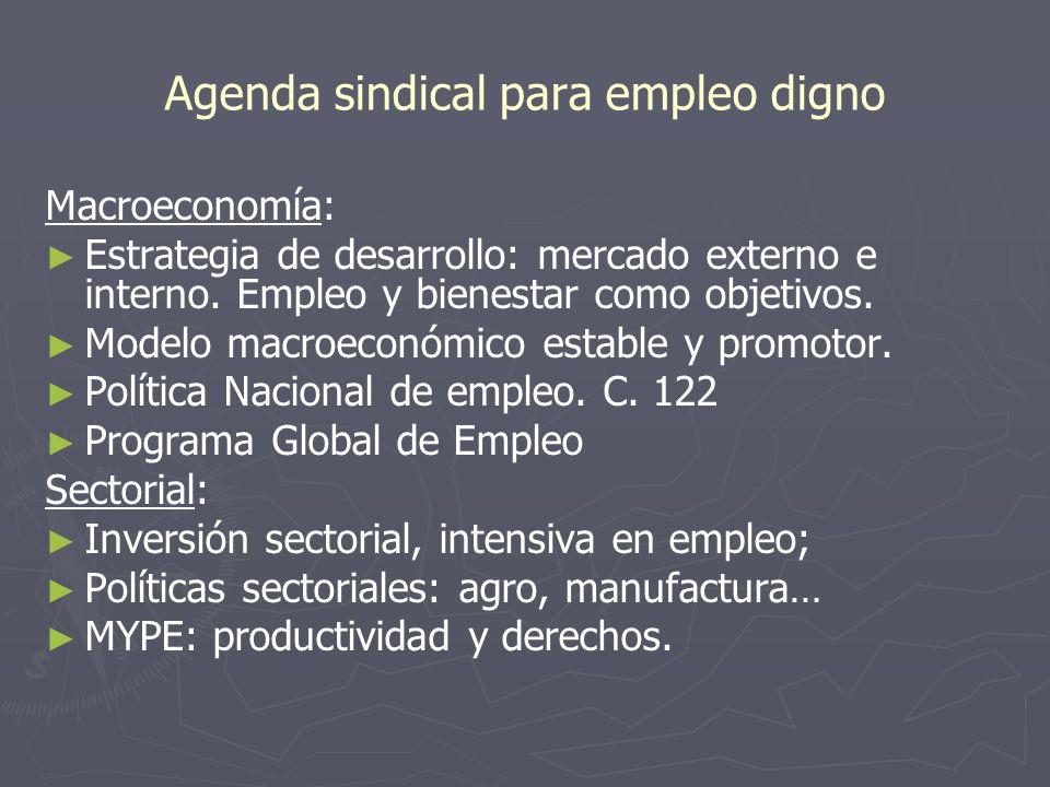 Agenda sindical para empleo digno