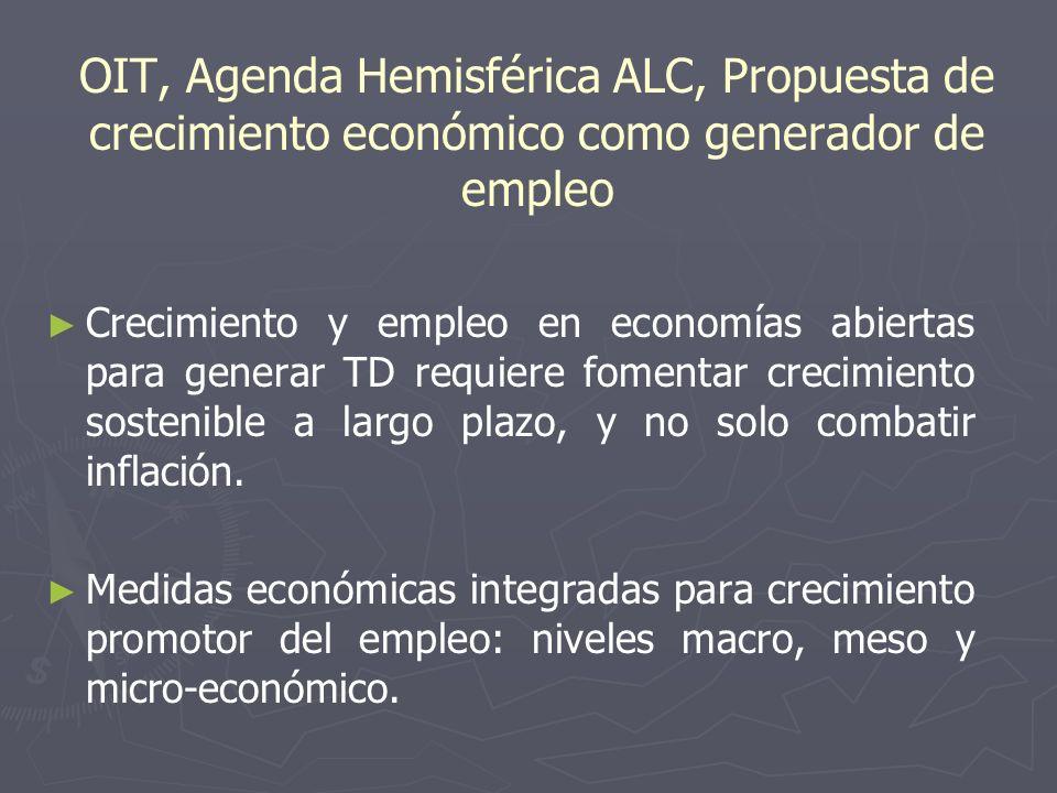 OIT, Agenda Hemisférica ALC, Propuesta de crecimiento económico como generador de empleo