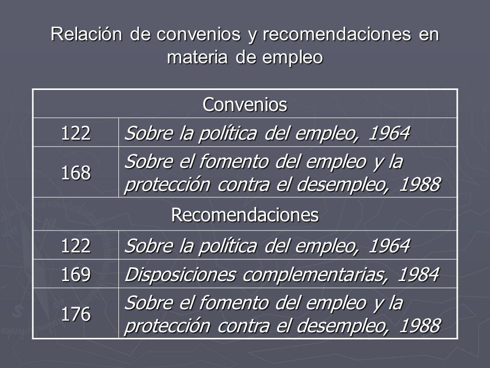 Relación de convenios y recomendaciones en materia de empleo