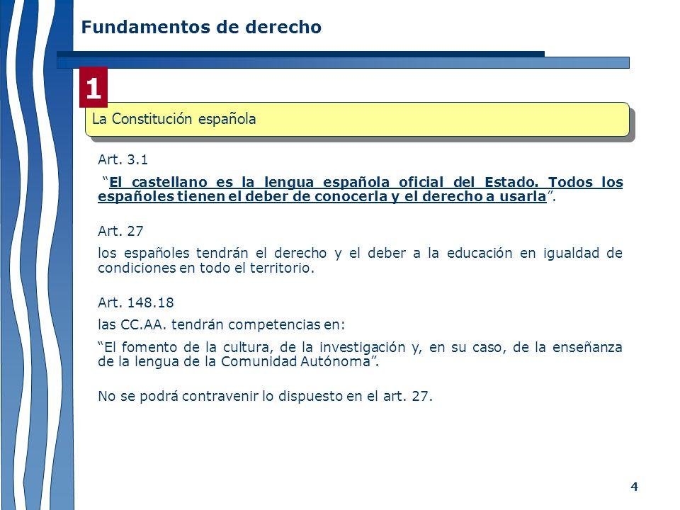 1 Fundamentos de derecho La Constitución española Art. 3.1