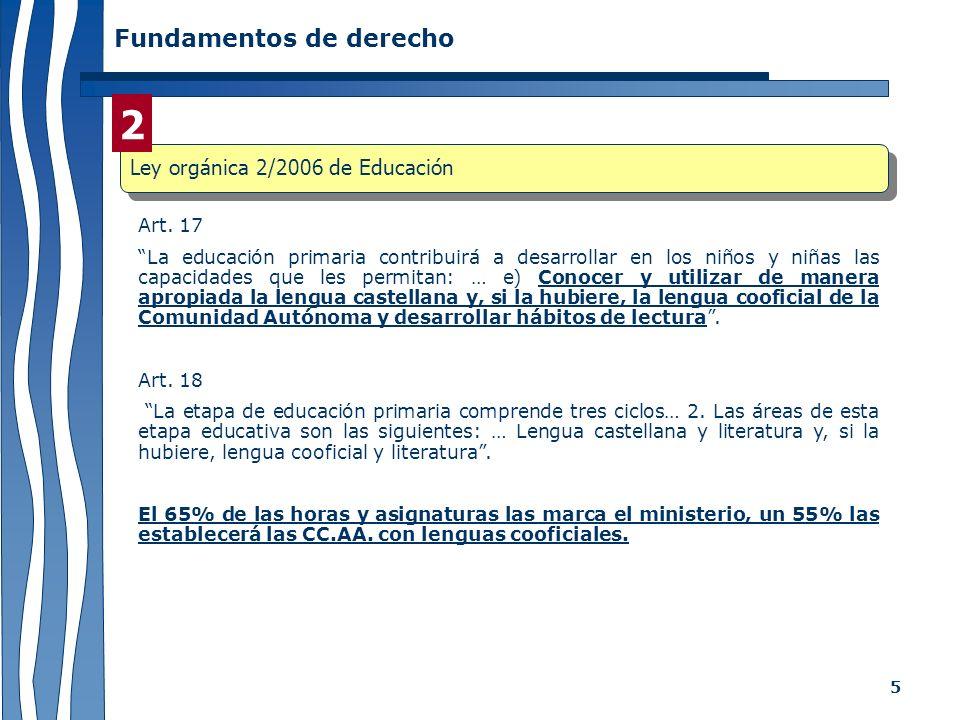 2 Fundamentos de derecho Ley orgánica 2/2006 de Educación Art. 17
