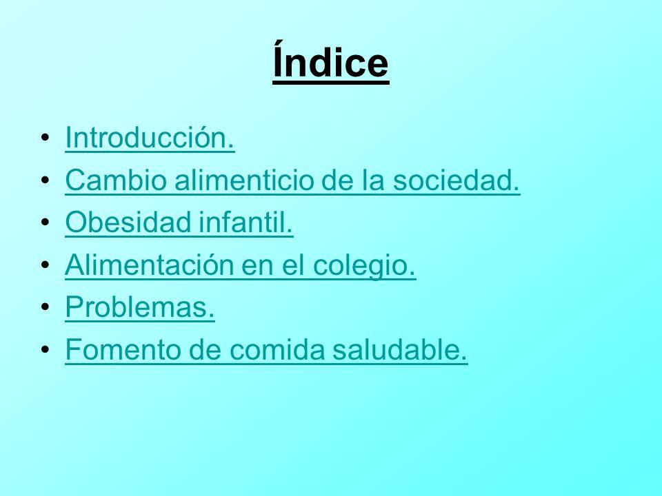 Índice Introducción. Cambio alimenticio de la sociedad.