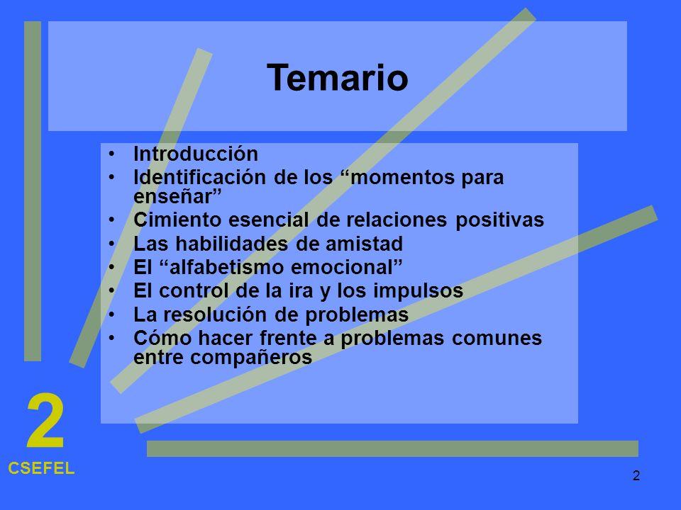 2 Temario Introducción Identificación de los momentos para enseñar
