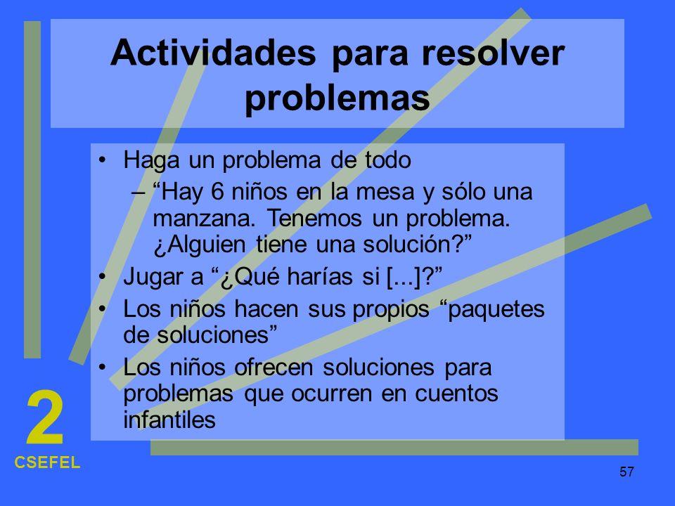 Actividades para resolver problemas