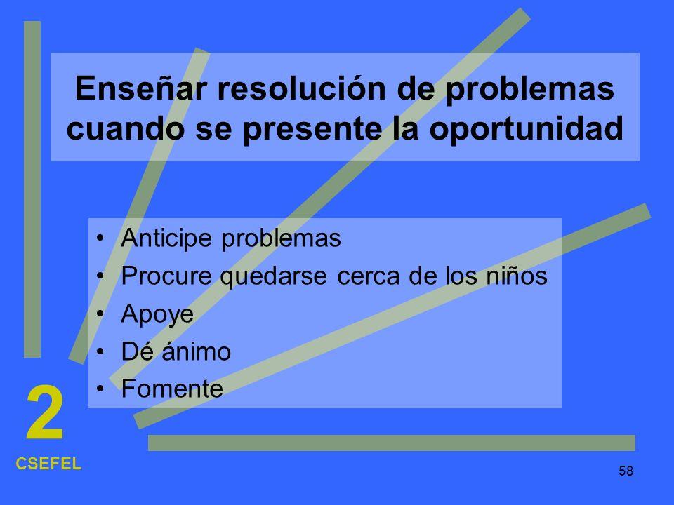 Enseñar resolución de problemas cuando se presente la oportunidad