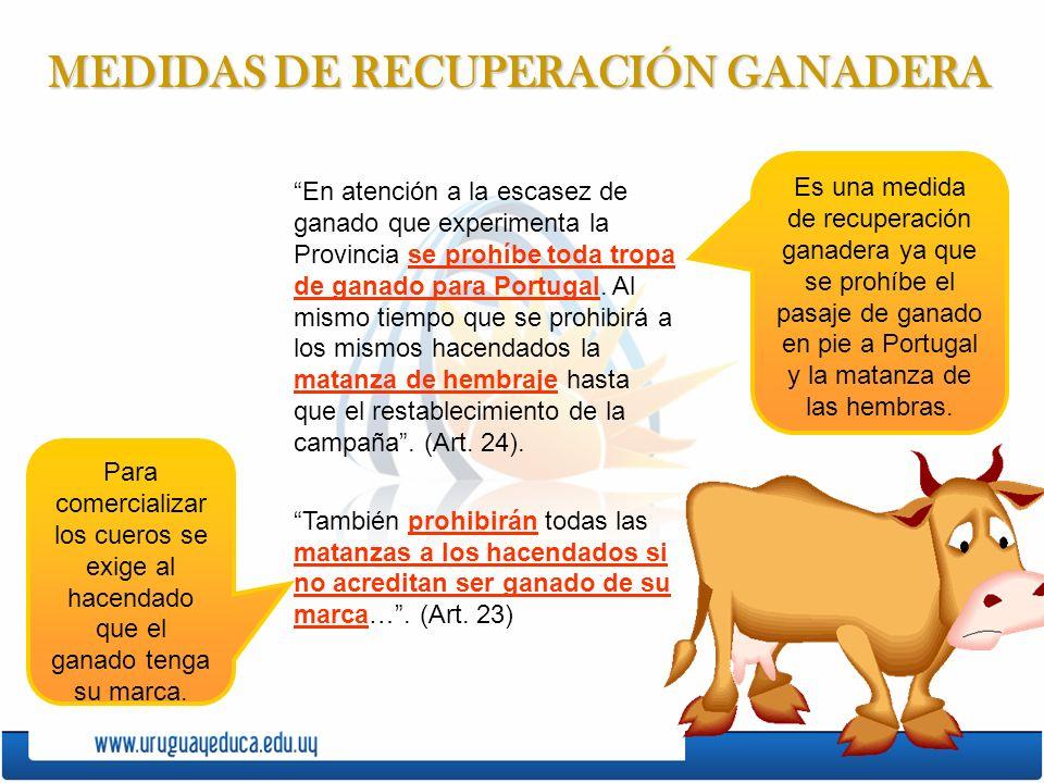 MEDIDAS DE RECUPERACIÓN GANADERA