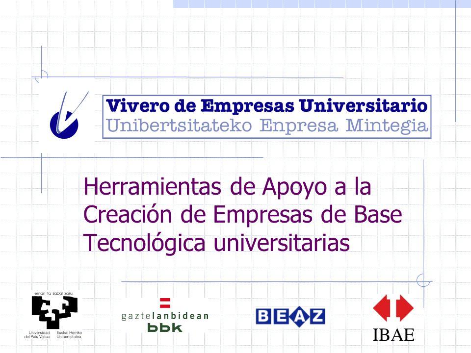 Herramientas de Apoyo a la Creación de Empresas de Base Tecnológica universitarias