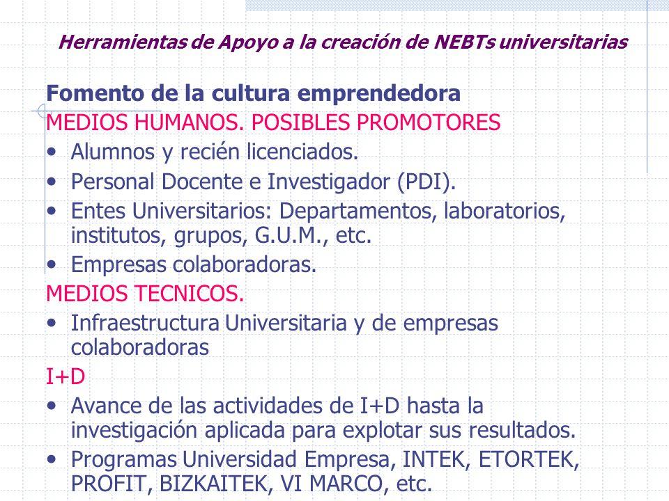 Herramientas de Apoyo a la creación de NEBTs universitarias