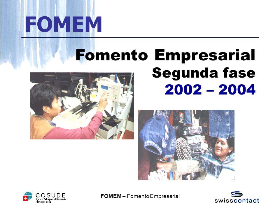 FOMEM Fomento Empresarial Segunda fase 2002 – 2004
