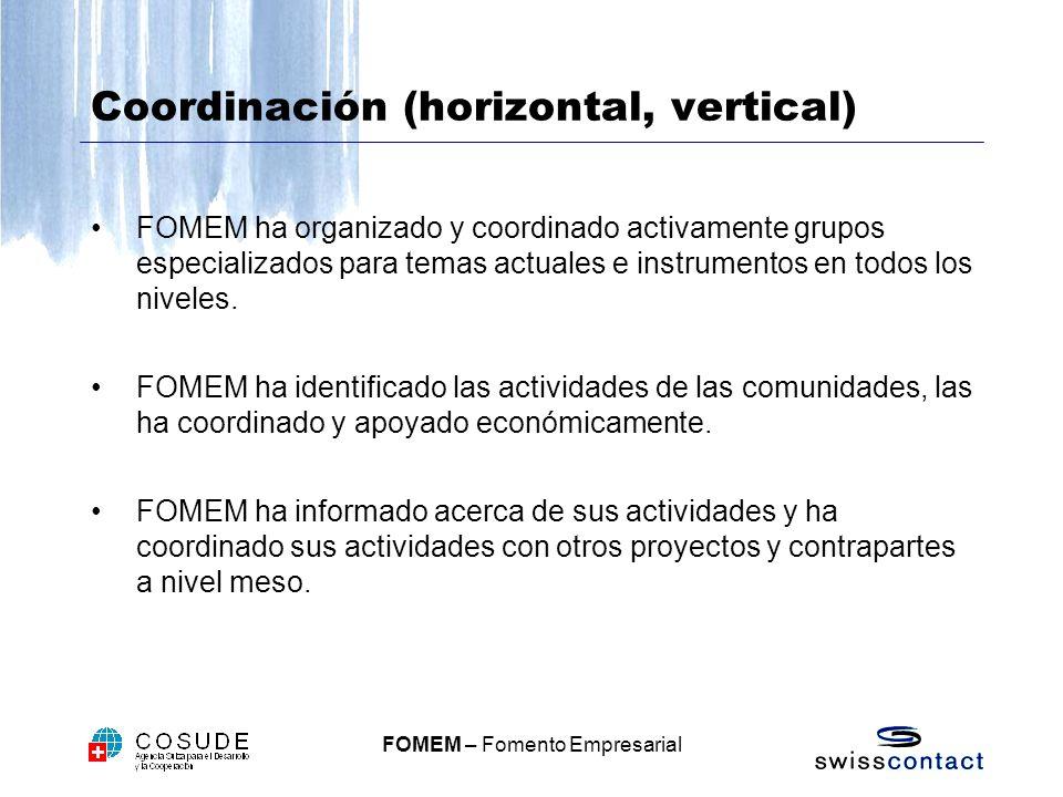 Coordinación (horizontal, vertical)