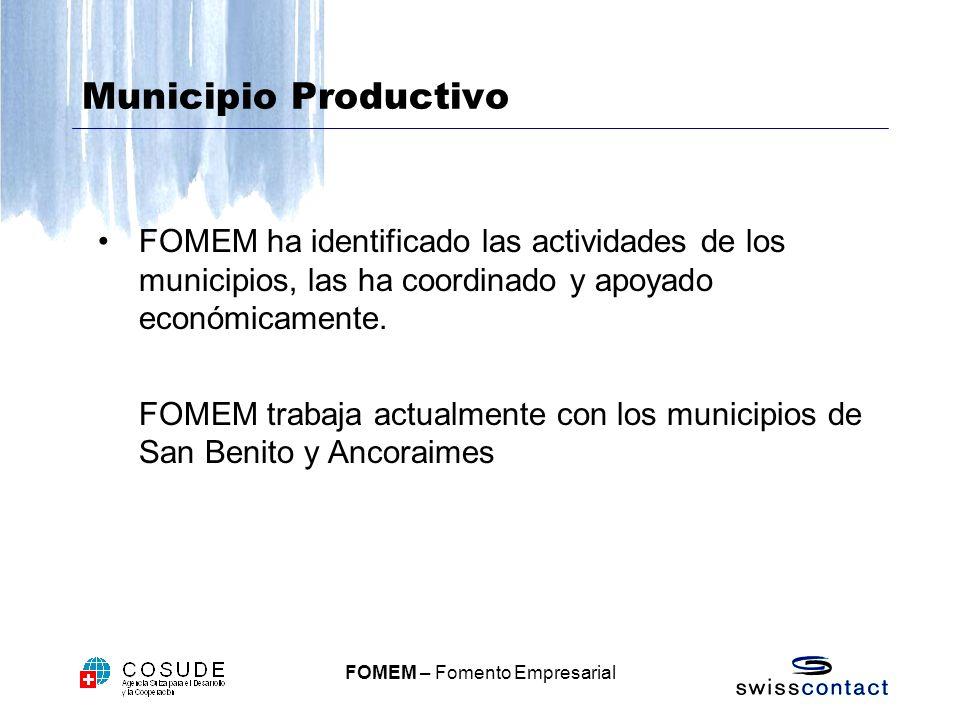 Municipio Productivo FOMEM ha identificado las actividades de los municipios, las ha coordinado y apoyado económicamente.