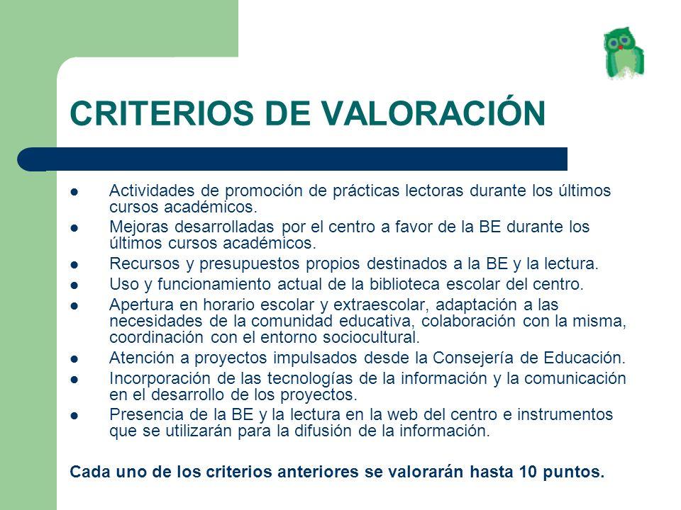 CRITERIOS DE VALORACIÓN
