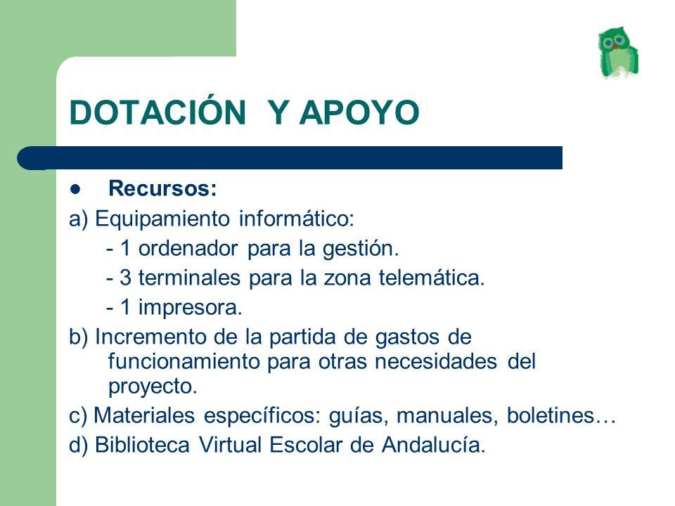 DOTACIÓN Y APOYO Recursos: a) Equipamiento informático: