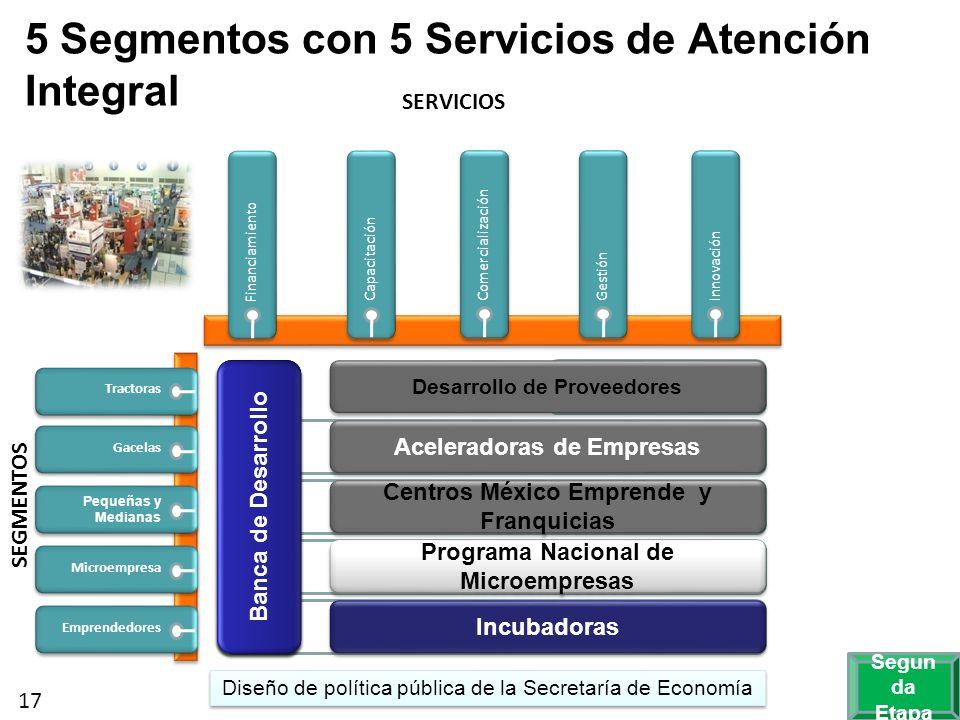      5 Segmentos con 5 Servicios de Atención Integral SERVICIOS