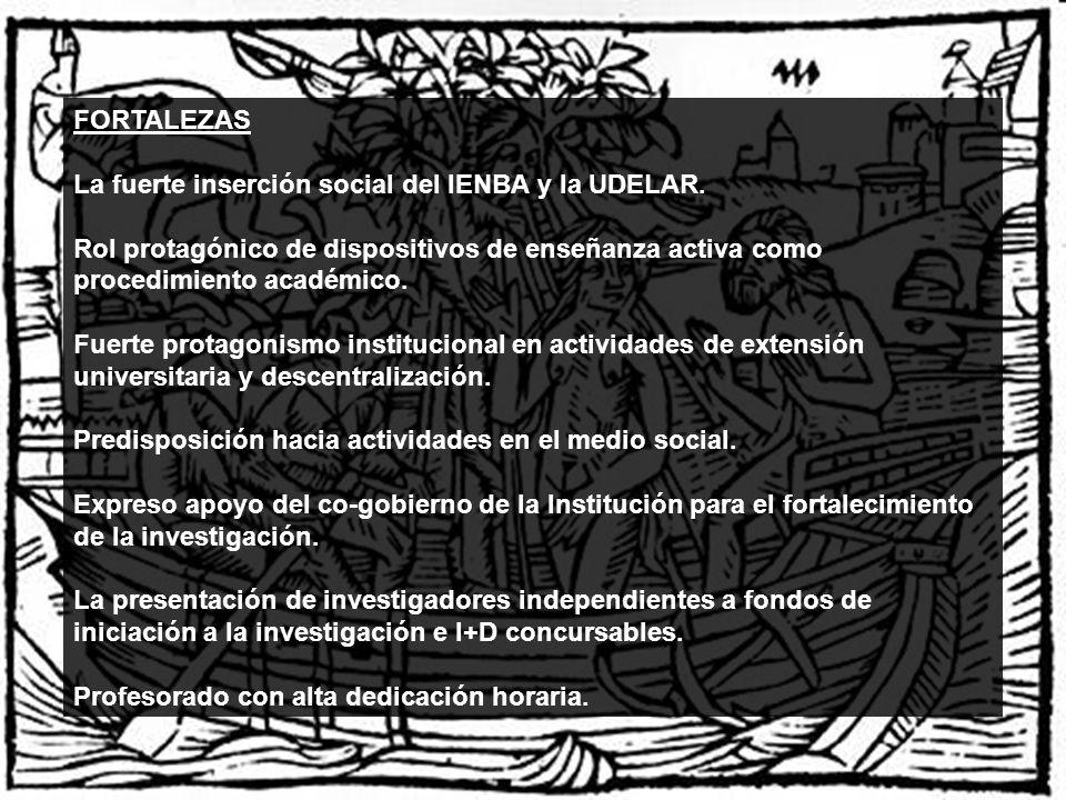 FORTALEZAS La fuerte inserción social del IENBA y la UDELAR. Rol protagónico de dispositivos de enseñanza activa como procedimiento académico.