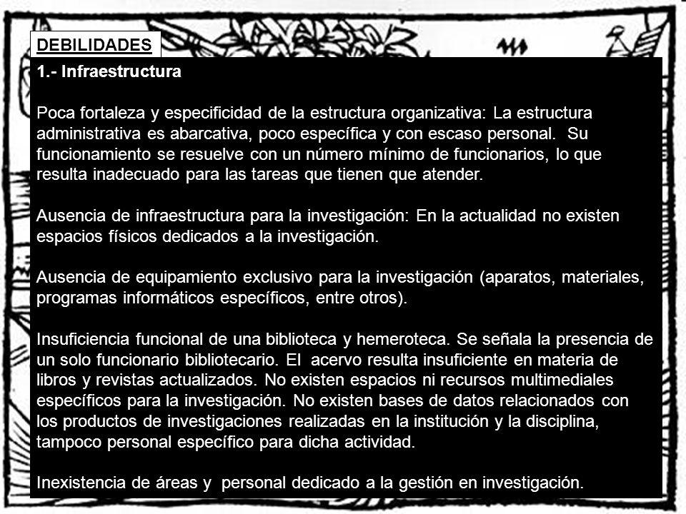 DEBILIDADES 1.- Infraestructura.