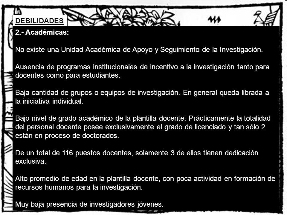 DEBILIDADES 2.- Académicas: No existe una Unidad Académica de Apoyo y Seguimiento de la Investigación.