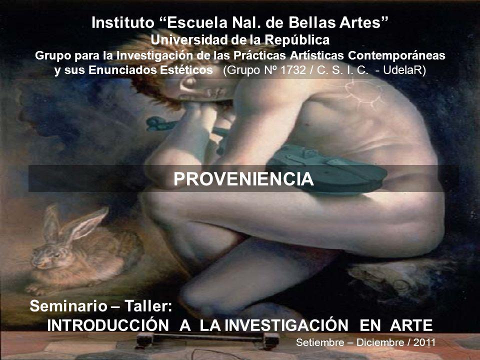 PROVENIENCIA Instituto Escuela Nal. de Bellas Artes