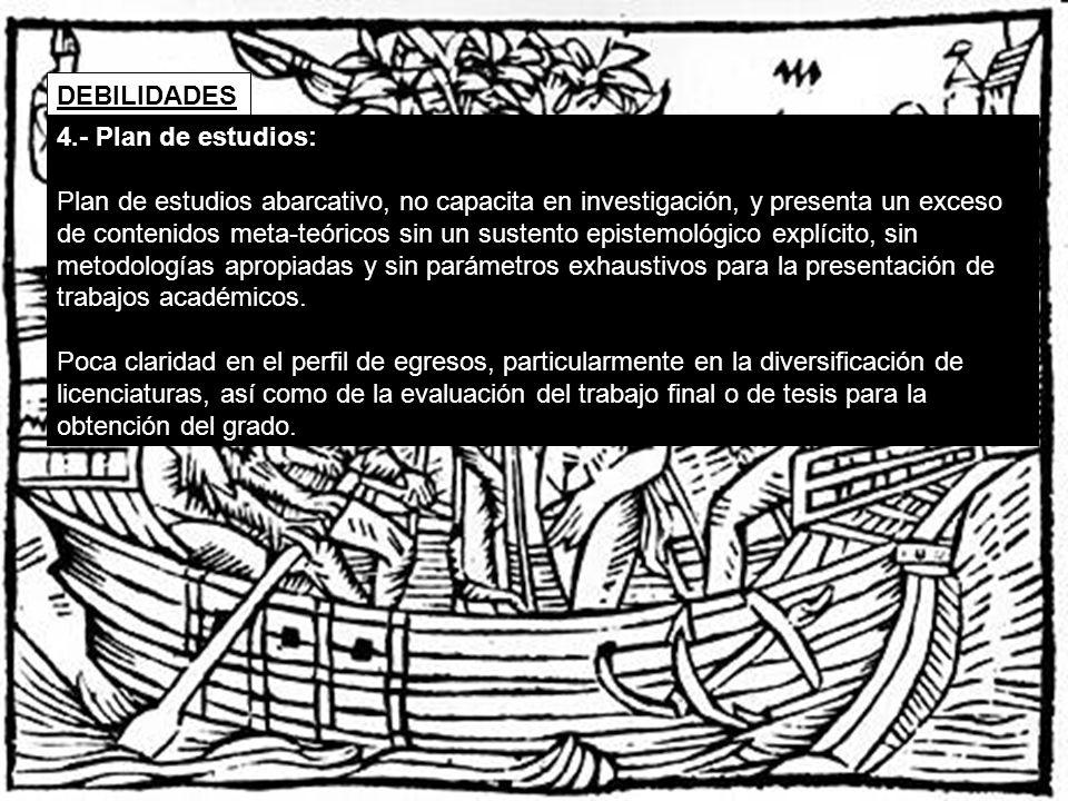 DEBILIDADES 4.- Plan de estudios:
