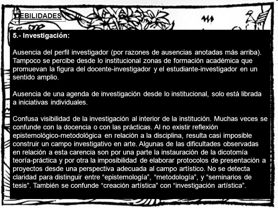 DEBILIDADES 5.- Investigación: