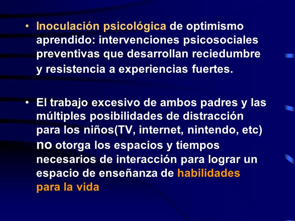 Inoculación psicológica de optimismo aprendido: intervenciones psicosociales preventivas que desarrollan reciedumbre y resistencia a experiencias fuertes.