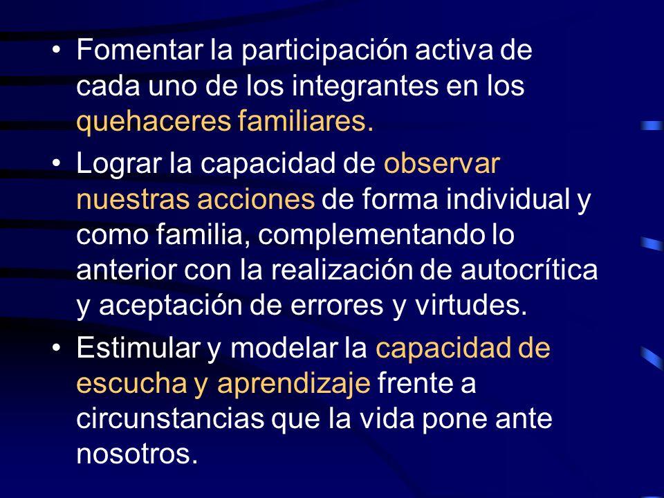 Fomentar la participación activa de cada uno de los integrantes en los quehaceres familiares.