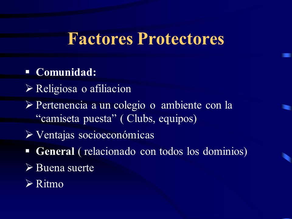 Factores Protectores Comunidad: Religiosa o afiliacion