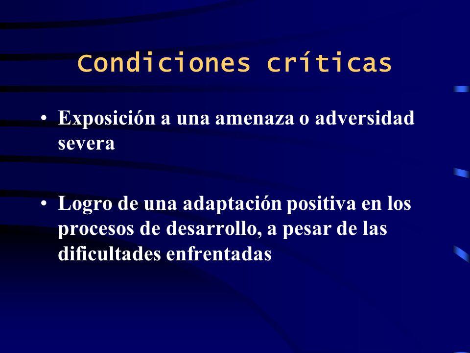 Condiciones críticas Exposición a una amenaza o adversidad severa