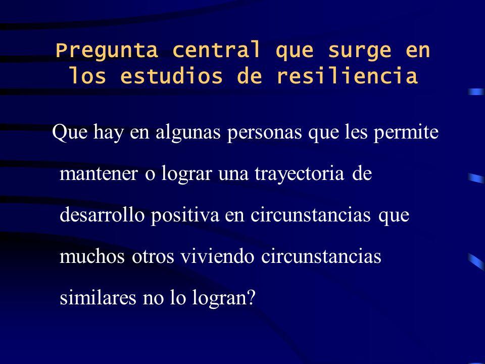 Pregunta central que surge en los estudios de resiliencia
