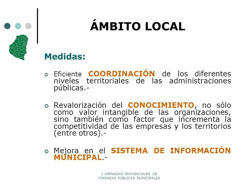 ÁMBITO LOCAL Medidas: Eficiente COORDINACIÓN de los diferentes niveles territoriales de las administraciones públicas.-