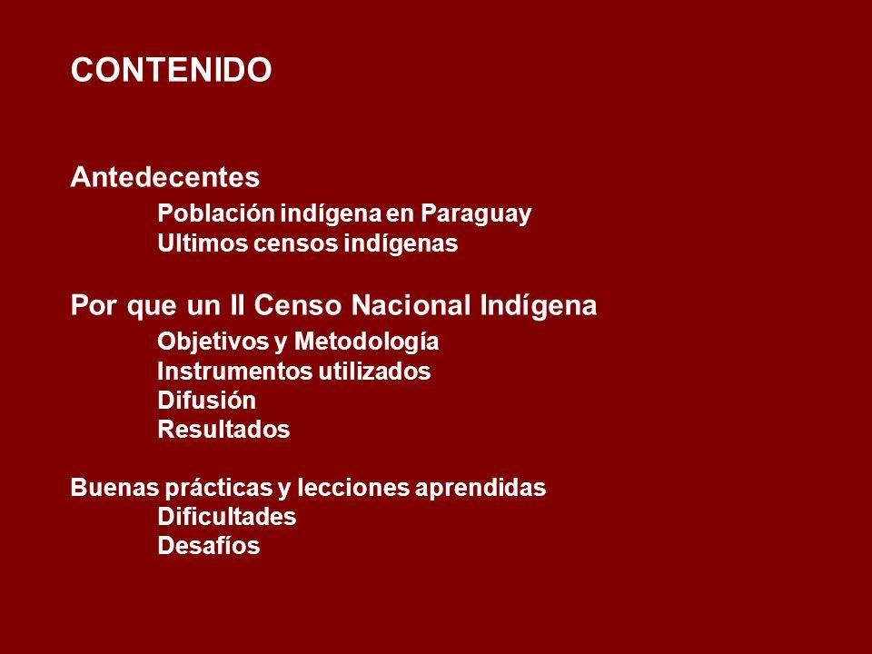 CONTENIDO Antedecentes. Población indígena en Paraguay