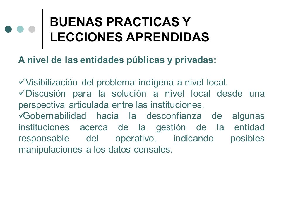 BUENAS PRACTICAS Y LECCIONES APRENDIDAS