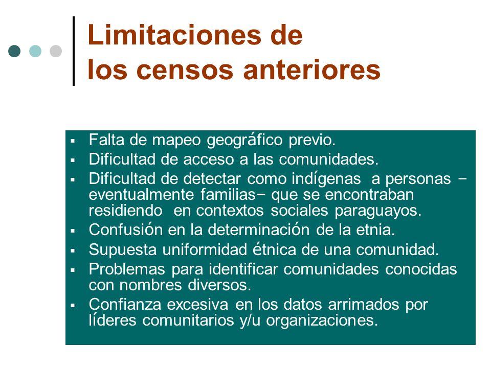 Limitaciones de los censos anteriores