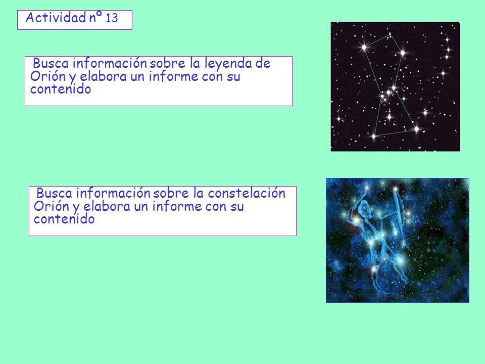 Actividad nº 13Busca información sobre la leyenda de Orión y elabora un informe con su contenido.