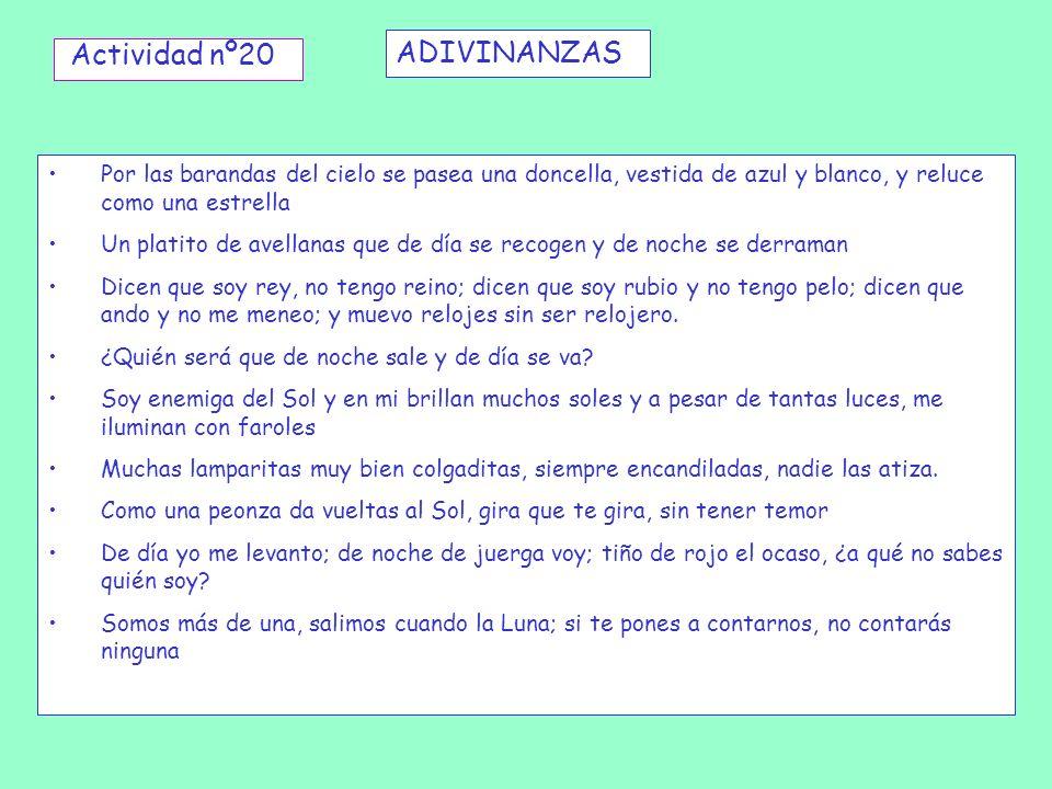 ADIVINANZAS Actividad nº20