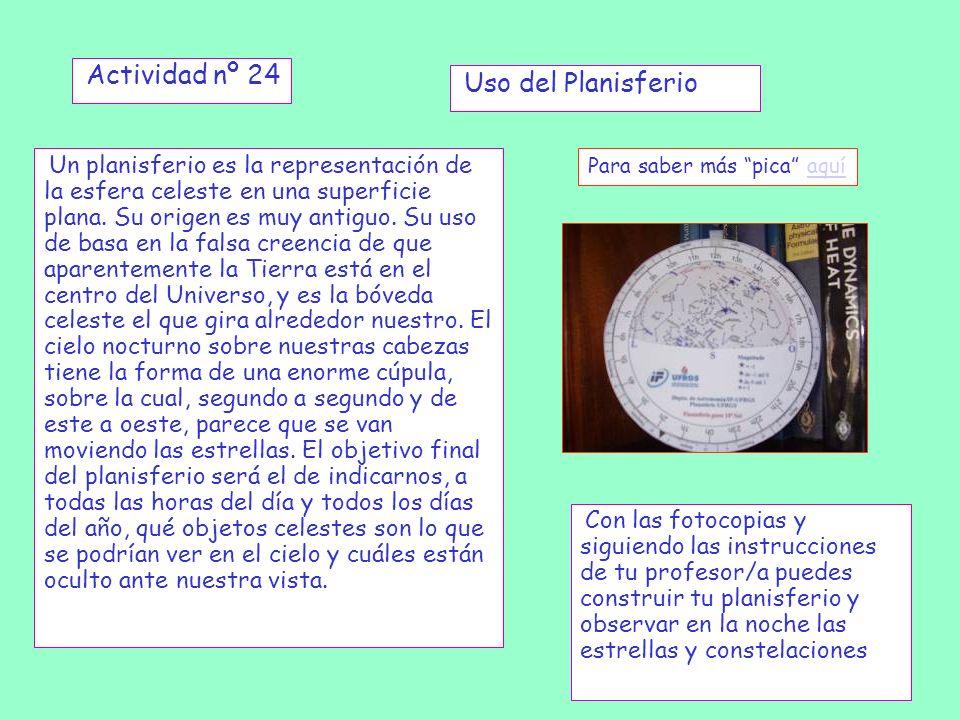 Actividad nº 24 Uso del Planisferio