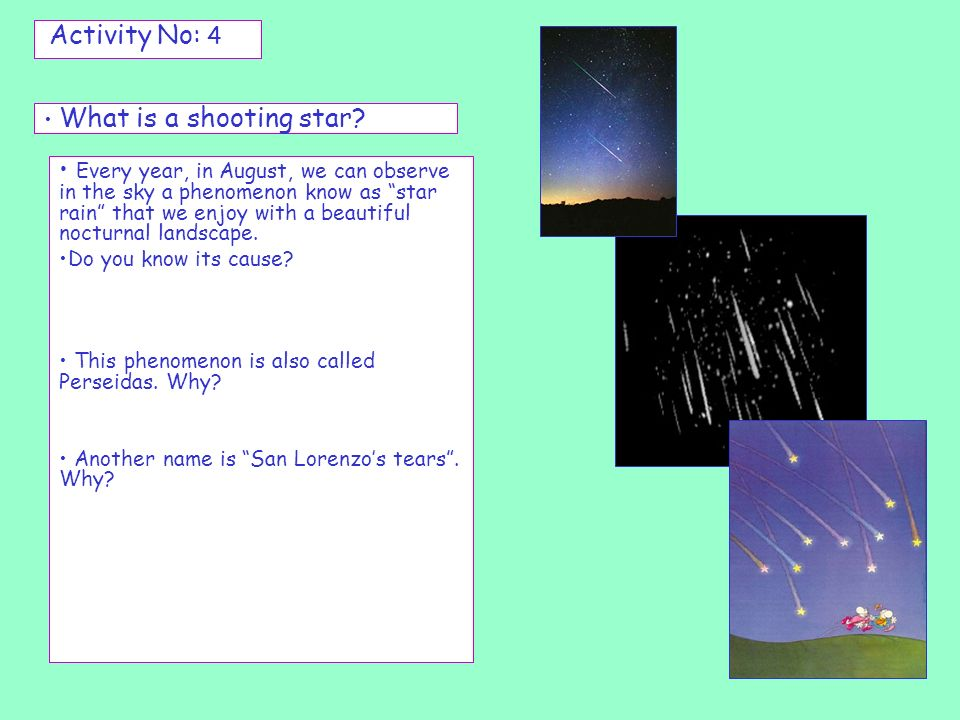 Activity No: 4 What is a shooting star