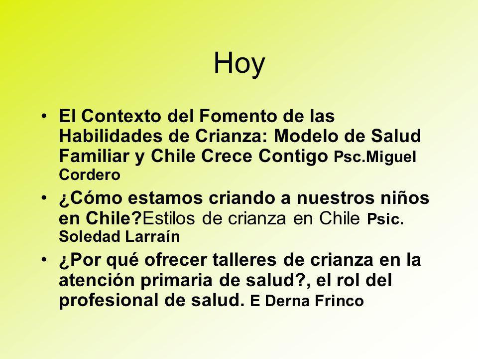 Hoy El Contexto del Fomento de las Habilidades de Crianza: Modelo de Salud Familiar y Chile Crece Contigo Psc.Miguel Cordero.